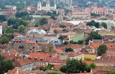 Old city architecture, top view Vilnius Lithuania