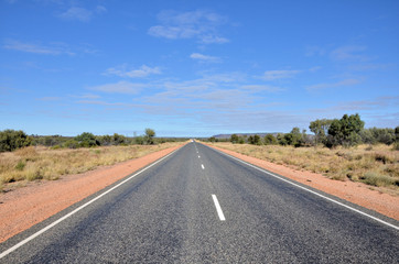 Highway in the Australian Outback and Blue Sky