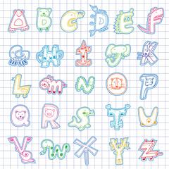 Cartoon alphabet template
