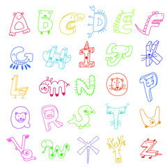 Animal alphabet, color pencil line draft style