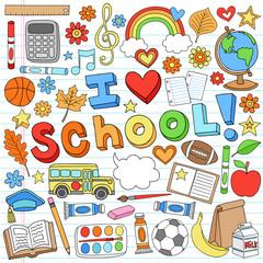 I Love School Back to School Supplies Doodle Vector Design