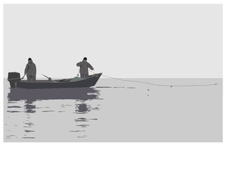 Two fishermen by a boat