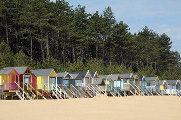 Beach huts on Holkham sands, North Norfolk