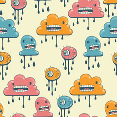 Wall Mural - Monsters modern seamless pattern in retro style.