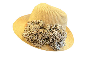 Straw hat with big ribbon on white background