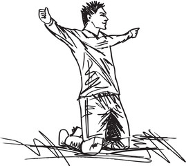 sketch of happy soccer player is celebrating a goal. Vector illu