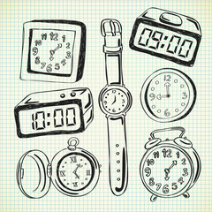 clock and watch doodle