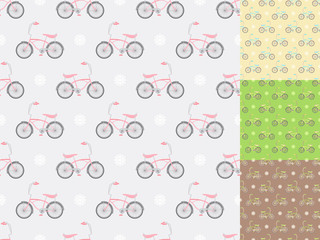 four seamless patterns with bicycles in different colors