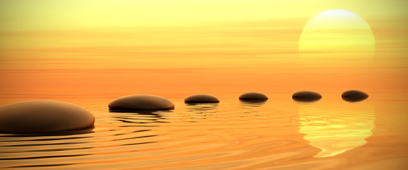 Photo sur Aluminium Zen Zen path of stones on sunset in widescreen