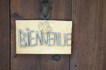 French welcome (bienvenue) sign