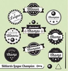 Vector Set: Billiards League Champions Labels