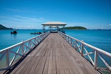 The beautiful bridge into blue sea , Thailand
