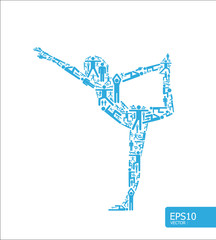 icons sports vector yoga concept