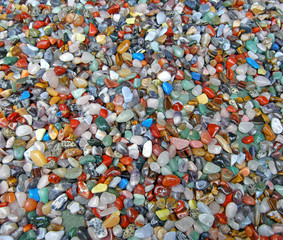 Background of numerous semi-precious stones
