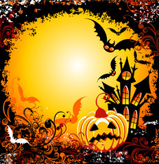 Halloween background with haunted house pumpkin and bats