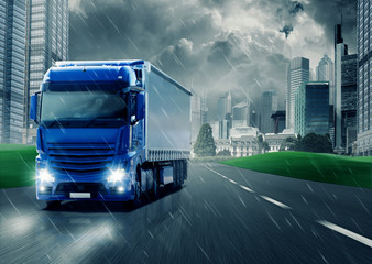 Wall Mural - Truck in the Rain