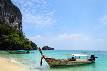 Traditional longtail boats in the poda island