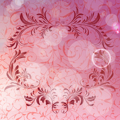 Vector abstract background with floral calligraphic frame