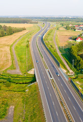 aerial view of highway near Olesnica town