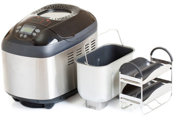 Breadmaker machine and accessories, isolated on a white