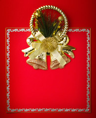 Greeting red card with gold decor