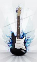 Illustration einer E-Gitarre mit Flügeln und Grunge Effekten