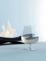 Weinglas vor Feuerstelle / Kamin