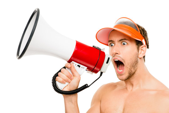 Closeup of crazy lifeguard man shouting in megaphone on white