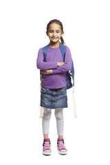 School girl on white background