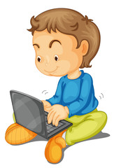 a boy with laptop