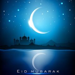 Eid Mubarak background with Mosque or Masjid and shiny moon. EPS