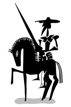 black and white Don Quixote
