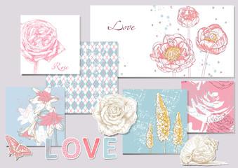 Beauty set of scrapbook design elements