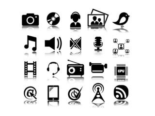 Set from twenty multimedia icons