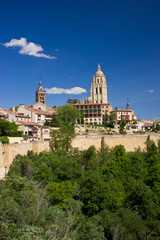 View of catholic cathedral in the center of Segovia