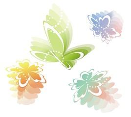 Абстрактные цветы и бабочка