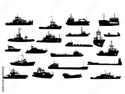 u0026quot set of 21 silhouettes of sea yachts  towboat and the