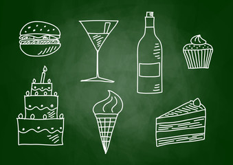 Drawing of food and drink on blackboard