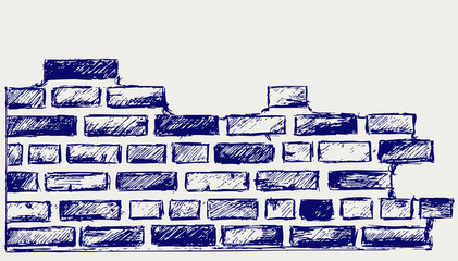 Old bricks. Sketch