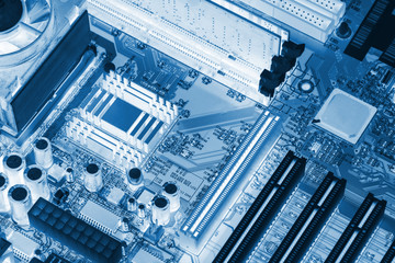 Close-up of electronic circuit board with processor X-ray