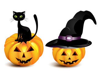 halloween pumpkin in the Black Witch Hat and cat