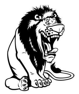 sitting cartoon lion black and white