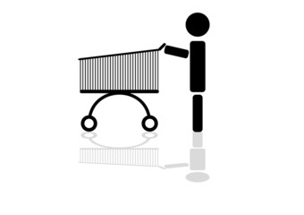 Man rolls the front of the shopping cart with reflection. Icon