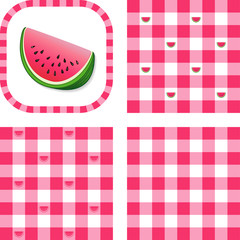 Seamless Check Patterns, Watermelon, EPS has 3 pattern swatches