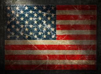 Grunge flag of USA. Horizontal composition