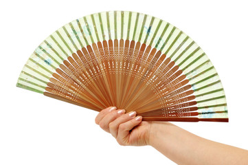 Fan in a woman hand isolated on white background