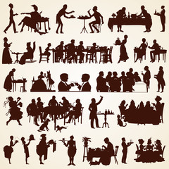 People silhouettes, vector people eating, discussing, serving