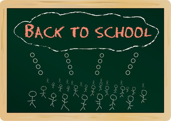 chalkboard with back to school, vector