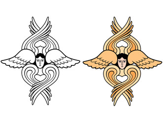 seraphim Easter outline and color vector illustration
