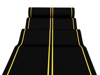 rolling asphalt carpet road on white background